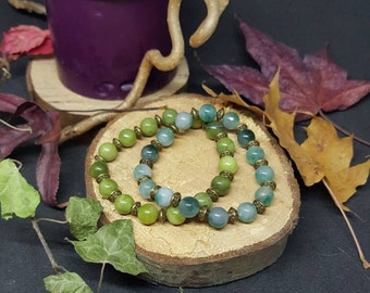Jade & Bronze bracelet - elastic bracelet - Pearl jade - green - Bohemian - yoga - gypsy - hippie - Crystal healing