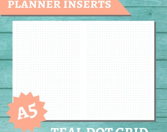 PRINTABLE A5 Traveler's Notebook Insert - Blank 5mm Teal Dot Grid