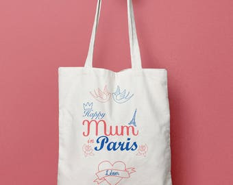 Tote bag personalized Happy Mum in Paris