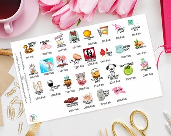 February Wacky Holidays Planner Stickers for Erin Condren, Happy Planner, Kate Spade, Plum Paper, Filofax, Kikki K, TN, Days of the year