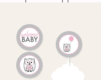 Pink Owl Baby Shower Cupcake Toppers and Cupcake Wrappers - Printable INSTANT Download - Pink Owl Baby Shower Favor Tags - Owl Cupcake