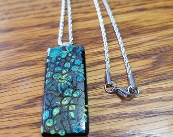 """Mandala Fused Glass Pendant with Sterling Silver Bail &  20"""" Stainless Steel Chain"""