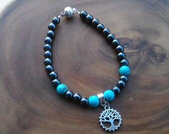 Hematite, Turquoise Bracelet with Tree Of Life Charm