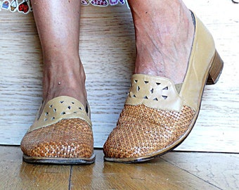 Womens leather loafers slip ons size 8.5 brown beige braided woven low heel comfortable shoes square toe vintage 1990s size 39 US 8.5