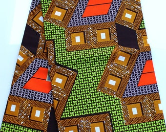 Green Geometric Ankara Fabric Orange ankara fabric African Print Fabric Geometric Cotton Fabric Wholesale Fabric 3 panel 6 Yards Ships FAST