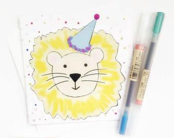 Lion Card-Leo Card-Children's Birthday Card-Lion Birthday Card-Cute Card-Cat Card-Lion Notecard-Lion Notelet