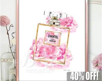 Fashion Decor Art, Poster Fashion, Perfume Art, Fashion Art Printable,  Fashion Poster Print, Vanity Art Print, Pink Perfume Print Gold Pink
