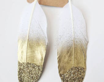 Gold Glitter Dipped Feather Earrings