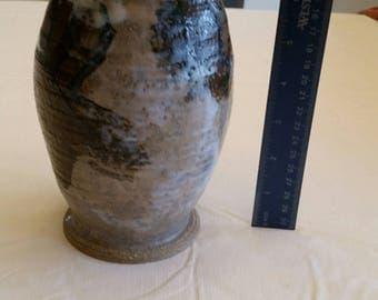 """vintage 7"""" stoneware vase - blue brown glazed ceramic pottery - art deco nouveau floral flower kitchen bathroom decor - pot bud drip lined"""