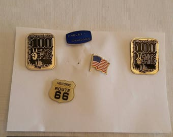 5 vintage motorcycle biker lapel / hat pins - harley davidson willie g daytona 100th - route 66 - usa flag - enamel badges tie tac jewelry