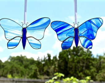 Blue Swirled Round Wing Stained Glass Butterfly Suncatcher