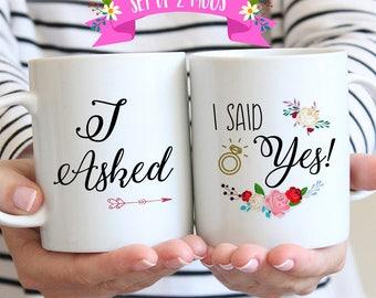 Newly Engaged Mugs, I Asked I Said Yes Coffee Mug Set, Newly Engaged Gift, Engagement Gift for Couples