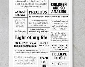 Children - Scrapbooking/Card Making Quote Sheet **DIGITAL DOWNLOAD**