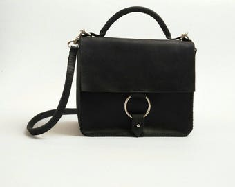 Sale/Leather shoulder bag/ Black leather bag/Hand stitched / Only one available