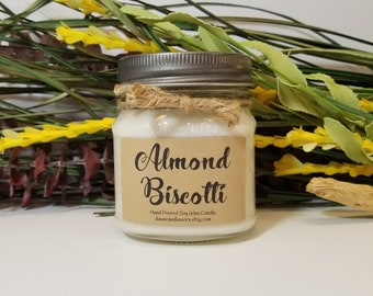 8 oz Scented Soy Candles - Housewarming Gift - New Home Gift - Mason Jar Candles - Coworker Gift - Realtor Gift - Almond Biscotti
