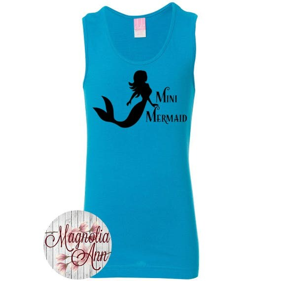 Mini Mermaid, Little Girls Fine Jersey Tank Top in Sizes XS (4/6X) - Large (14) in 10 Colors