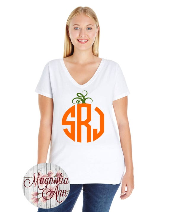 Custom Monogram Pumpkin, Halloween, Thanksgiving, Women's Premium Jersey V-Neck T-shirt in Sizes Small-4X, Plus Size, Curvy, Lots of Colors