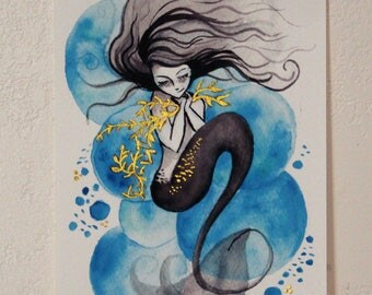Hand Embellished Print // Mermaid Bubbles {Blue}