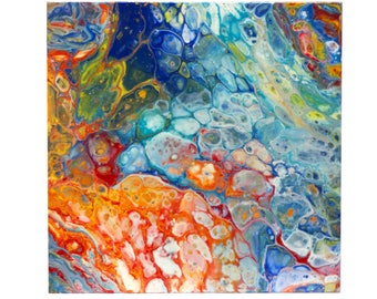 Abstract Fluid Painting - Blue/Orange
