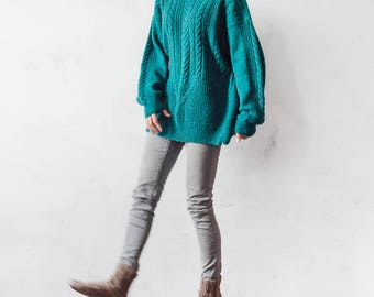 Mohair sweater Knitted green oversized sweater  boho sweater loose sweater mohair sweater  emerald sweater oversize sweater pullover jumper