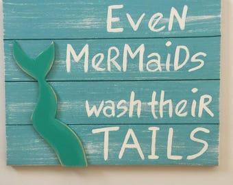 Mermaid Beach Wall Art Beach Sign Coastal Bathroom Beach Art Beach House Mermaid Art Wood Wall Art