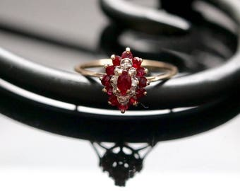 Vintage Ruby & Diamond ring, size 6.75, 10k yellow gold, ruby engagement ring, July birthstone, Fine estate jewelry, 15th anniversary, 40th