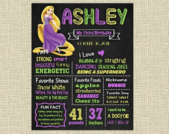 Tangled Birthday Chalkboard Poster - Disney Princess Rapunzel Wall Art design - Birthday Party Poster Sign - Any Age