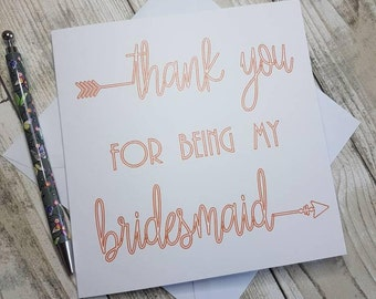 Thank You For Being My Bridesmaid, Bridesmaid Thank You, Bridesmaid Card, Thank You Bridesmaid, Wedding Thank You, Bridal Party Thanks