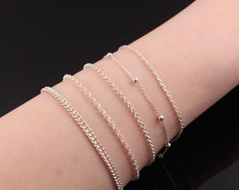 Thin Silver Bracelet, Silver Charm Bracelet, Sterling Silver Bracelet, Silver Chain Bracelet, Dainty Silver Bracelet, Minimalist Jewelry
