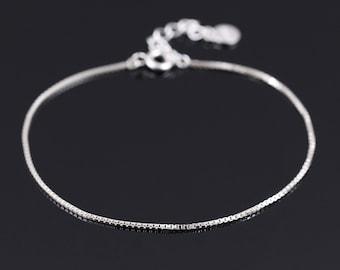 Silver Chain Bracelet, Thin Silver Bracelet, Delicate Silver Bracelet, Sterling Silver Bracelet, Layering Bracelet, Dainty Silver Bracelet