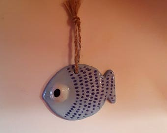 Blue fish ceramic Turquoise fish to hang, Navy fish wall, Dad gift, fisherman gift, decoration, Deco credit, April fool