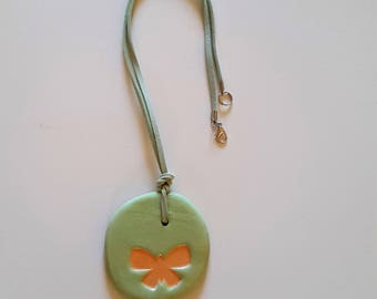 Green ceramic necklace pendant ceramic necklace, women gift, daughter, MOM, ceramic butterfly, mother's day gift