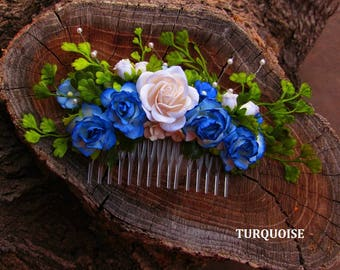Wedding Flower Hair Combs - Flower Hair Combs, Floral Hair Comb, Wedding Hairpiece, Blue Floral Comb, Wedding Hair Comb, Bridemaid Hair Comb