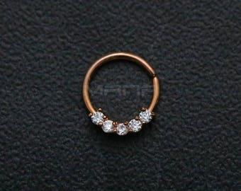 Rose Gold Nose Hoop, Crystal Bendable Septum / Daith / Ear Piercing Ring, Clear Crystal Nose Piercing, Rose Gold Septum Ring, H 504RG