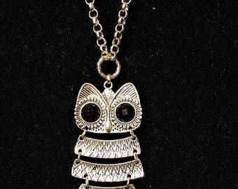 Large Silver Owl Pendant Necklace