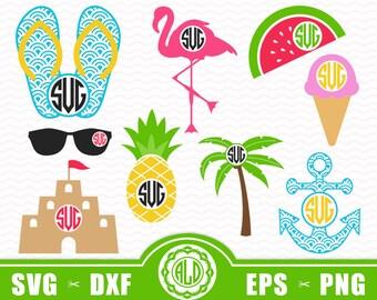 Summer Monogram SVG, Beach Monogram Svg, Svg files for silhouette, Svg files for cricut, Tropical Monogram Svg, Set of 9 Svg