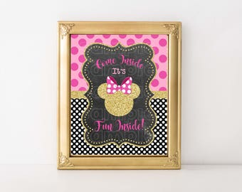 MINNIE MOUSE 8x10 SIGN, Come Inside It's Fun Inside, Table Sign, Minnie Mouse, Pink and Gold, Instant Download, Printable, Welcome Sign