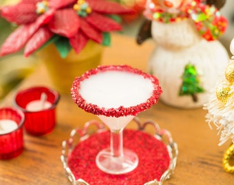 Peppermint White Chocolate Martini on Tray - 1:12 Dollhouse Miniature