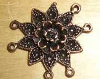 DIY Pendant/Intermediate part for 3 mm/4 mm Chatons (point cone)-heart or star in copper