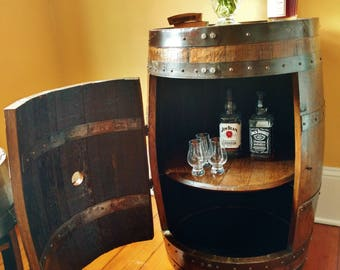 whiskey barrel liquor cabinet handcrafted from a reclaimed whiskey barrel - Liquor Cabinet Furniture