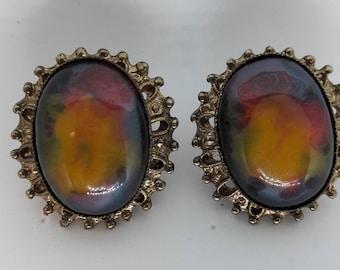 Multi Colored Cabochon Vintage Pierced Earrings