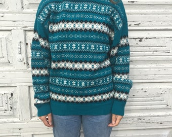 Vintage 80s 90s Royal North Mills Striped Teal Blue White Black Diamond Pattern Sweater - Medium