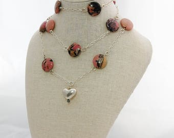 Rhodonite Necklace, Long statement necklace, Pink Gem Necklace, Sterling silver heart necklace, Heart necklace, Layer necklace,