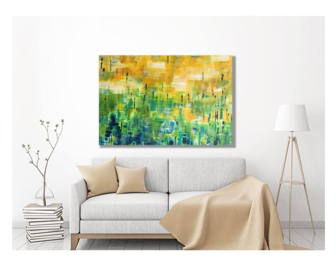 Forest Canvas Print - Modern Abstract Art Painting, Wrapped Giclee, Sunshine Forest, Enchanted, 8x10, 30x40, multiple sizes, above couch
