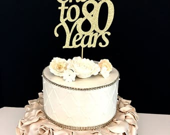 Any Number, Cheers to 80 Years cake topper, Cheer Cake Topper, 80th Birthday Cake Topper
