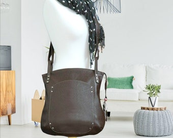 Leather bag brown cross-over everyday slouchy hobo  shoulder handbag women oversized minimalist classic cowhide crossbody zippered tote