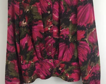 Vintage 1980s purple green floral jacket style top UK 10/12 deep waistband