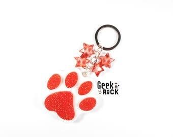 Cat paw Keychain / kawaii glitter Paw Paw dog cat dog paw
