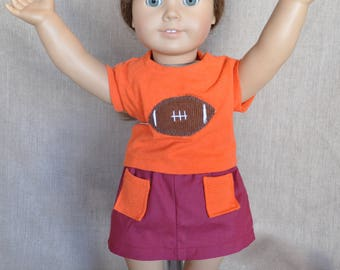 "Team colors outfit for 18"" dolls including American Girl."