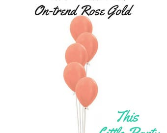 Rose Gold Balloons (Pkt 6) - FREE POSTAGE - pack of 6 x standard size 30cm Natural Latex Balloon
